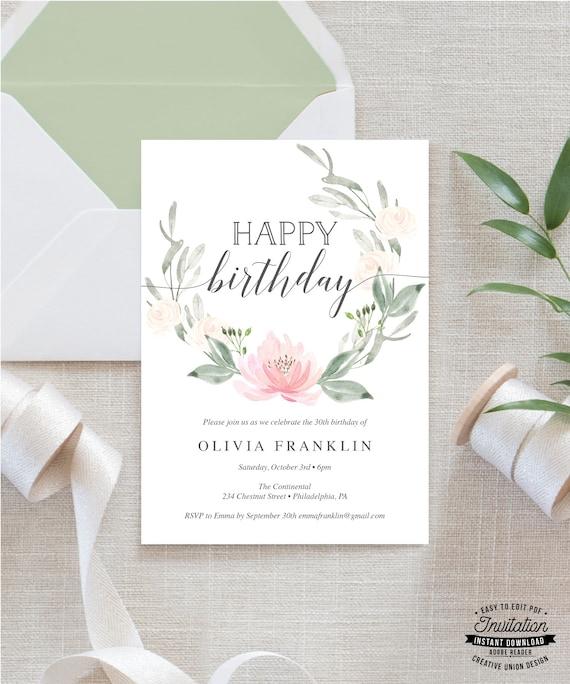 30th Birthday Invitation For Her 40th Invite