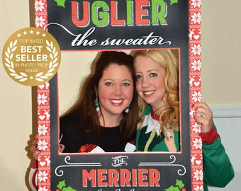 Ugly Sweater Photo Prop - Ugly Christmas Sweater Party - 24x36 Printable Prop File - PDF - Holiday Party Prop - Printed Option Available