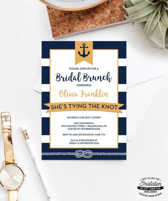 bridal shower invitation nautical bridal brunch invite etsy