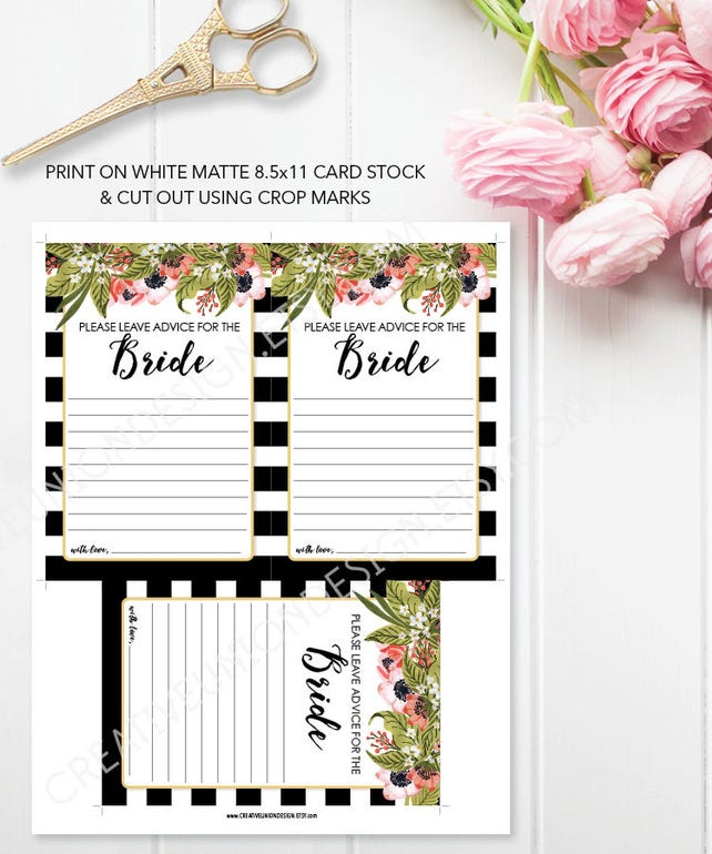 advice for the bride bridal shower bridal shower game keepsake guest book alternative bridal shower printable 4x6 card preppy