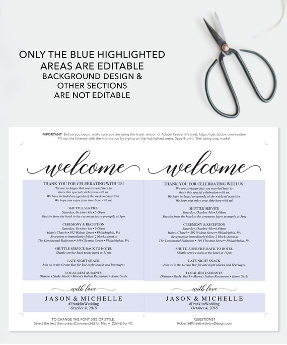 Wedding Itinerary Template Wedding Welcome Bag Printable Itinerary Editable Welcome Letter 5x7 Wedding Agenda Diy Instant Download
