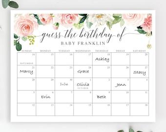 Baby Due Date Calendar - Baby Shower Birthday Prediction Calendar - Editable - Printable - Decor - Baby Shower Games -Blushing Blooms