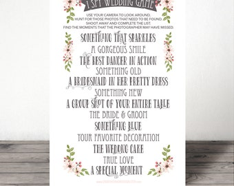 I Spy Wedding Game - I Spy Game - Wedding Game - Wedding Reception Game - Instant Download - Print at Home - 8.5x11 and A4 sizes