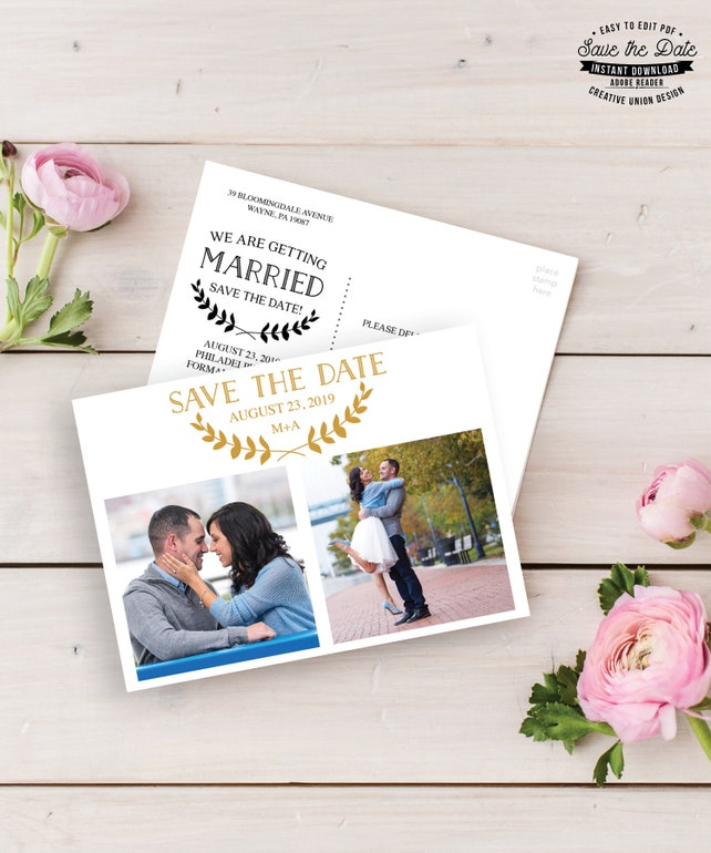 Save the Date Postcard Template -  Printable Save The Dates - Wedding Invitations - Save Our Date - Postcard - Instant Download - Simple