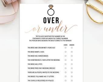 Over or Under - Bachelorette Party Game - Printable Bachelorette Game - Rose Gold - Instant Download - Bachelorette Weekend