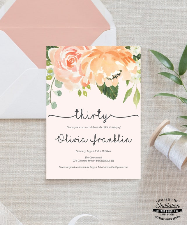 30th Birthday Invitation For Her