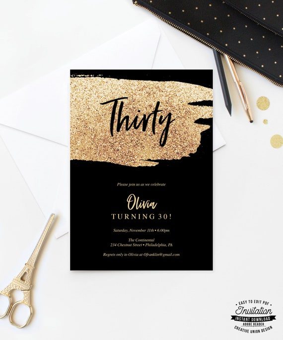 Gold Glitter Birthday Invitation For Her 30th