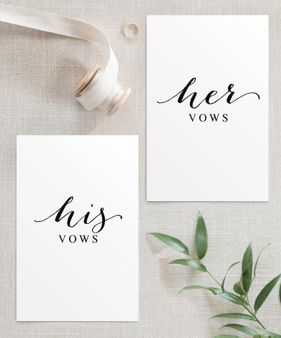His And Her Wedding Vow Booklet Template Vow Books Vow Etsy