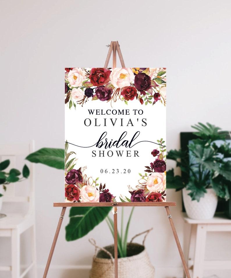 Editable PDF Instant Download Welcome Bridal Shower Burgundy Marsala Fall Bridal Shower Sign Editable Bridal Shower Welcome Sign