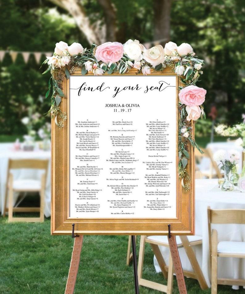 Wedding Seating Chart Editable PDF Table Arrangement Sign