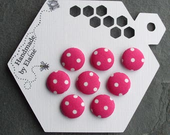 24L Fabric Covered Buttons - 8 x 15mm, Pink Buttons, White Polka Dot Buttons, Cerise Pink, Spotty, Dots, Deep Pink, Vintage 80s Polka, 4475