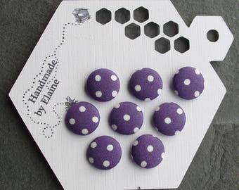 24L Fabric Covered Buttons - 8 x 15mm, Pruple Buttons, White Polk Dot Buttons, Salvia Purple, Clematis Purple, Goth, Rock, Deep Purple, 4480