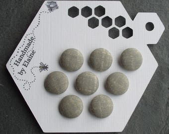 24L Fabric Covered Buttons - 8 x 15mm, Grey Green Button, Faint Cream Hatching/Speck, Chalky Sage, Celadon, Russian Green, Fern, Mantis,4476