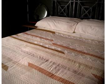 Rustic Cream Patchwork Quilt - American heritage bohemian ivory hazel vanilla ecru taupe apple green pastel quilt, boho throw bed linen,3545