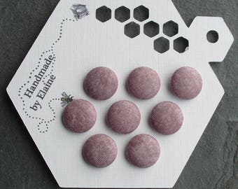 24L Fabric Covered Buttons - 8 x 15mm, Light Grey Purple Buttons, Dappled, Violet Grey, Nickel, Heather Grey, Lavender Grey, Dove Grey, 4477