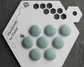 24L Fabric Covered Buttons - 8 x 15mm, Blue Buttons, Cross Hatch Pattern, Loose Basket Weave, Duck Egg Blue, Anderson Blue, Aqua Blue, 4471