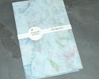 Blue Pink Green Grey Fat Quarter - Abstract Pattern, Cornflower Blue Base, Navy Blue, Slate, Leaves, Prairie Green, Fuchsia, Pink Sky, 5202