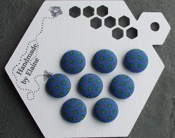 24L Fabric Covered Buttons - 8 x 15mm, Blue Buttons, Red Green Polka Dot Button, Spotty Button, Micro Dot Button, Dotted-Swiss, Lunares,4474