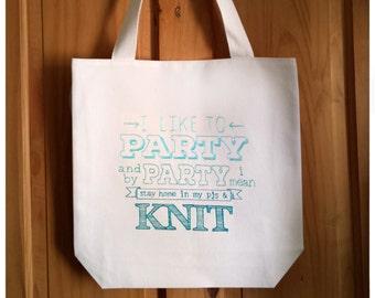 Knit Embroidered Canvas Tote Bag - Turquoise Aqua Ombre Wool Yarn Crochet Knitting Bag, Shopping Bag For Life, Book Bag Craft Gift, 2969