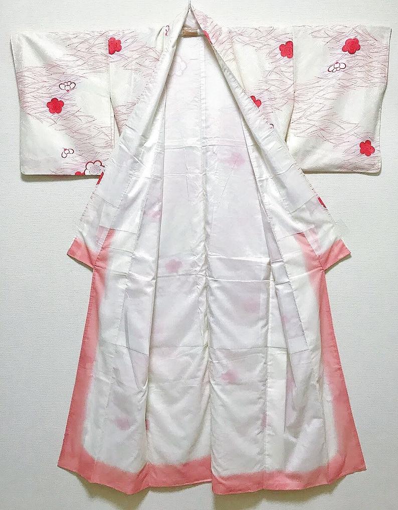 TA10 Polyester Washable White Komon Kimono with Plum Patterns