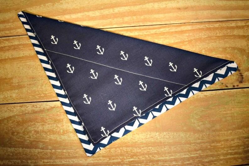 Navy Anchors Slip Through Collar No Tie Pet Bandana image 0
