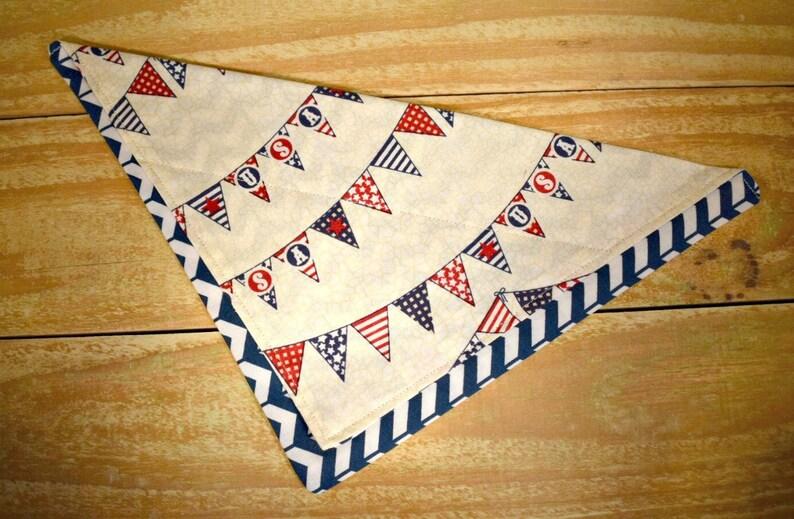 USA Banner Slip Through Collar No Tie Pet Bandana image 0