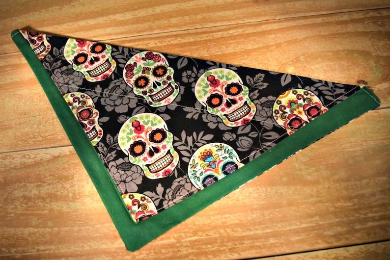 Skulls Day of the Dead Slip Through Collar No Tie Pet Bandana image 0