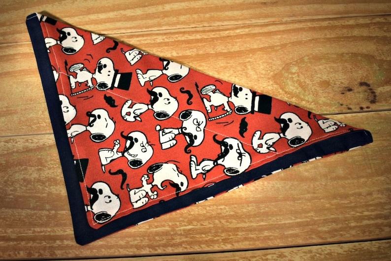 Snoopy with Mustaches Slip Through Collar No Tie Pet Bandana image 0