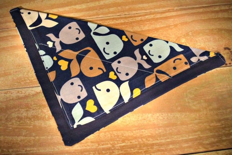Cute Whales Pattern Slip Through Collar No Tie Bandana image 0