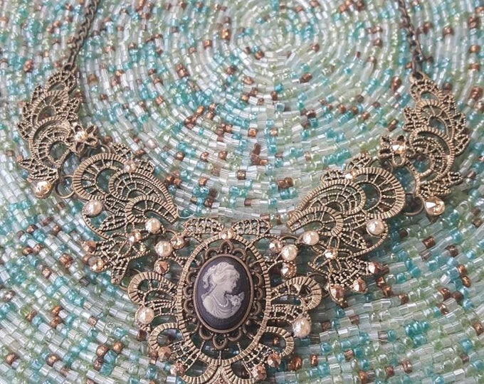Gold Victorian Lace Necklace