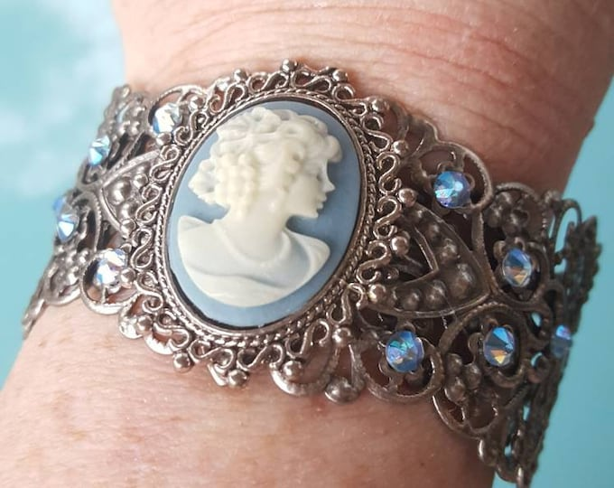Antique Blue Filigree Cuff Bracelet