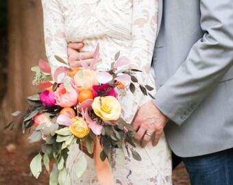 Paper Flower Bouquet, Preserved Bridal Bouquet, Boho Wedding, Alternative Bouquet, Rustic Bride Flowers, Crepe Paper Flowers, Custom Bouquet
