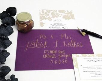 Calligraphy, Envelope Addressing, Handlettering, Wedding Envelope, Save the Date, Wedding Invitations, Gold Calligraphy, Modern Lettering