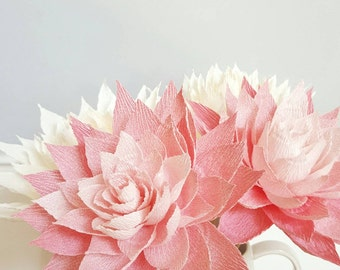 Paper Dahlias, Crepe Paper Flowers, Paper Flower Bouquet, Wedding Paper Flowers, Pink Paper Flowers, Home Decor, Floral Centerpiece