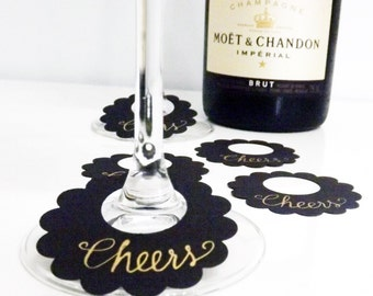 Gold Paper Wine Charms, Cheers Gold Calligraphy Tags, Holiday Party, Paper Wine Tags, Black Wine Charms, Black Gold Tags, Wine Glass Markers