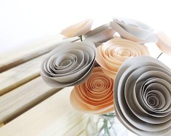 Blush Paper Flowers - Wedding Centerpieces - Floral Arrangements - Blush and Gray - Dozen Roses - Wedding Paper Flowers - Blush Pink Wedding