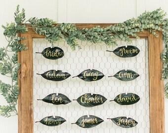 Natural Leaf Place Card, Wedding Calligraphy, Preserved Magnolia Leaves, Wedding Escort Cards, Modern Leaf Calligraphy, Gold Lettering