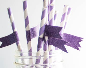 Purple Paper Straws, Striped Paper Straws, Party Supplies, Party Decor, Birthday Party, Straws With Flags, Baby Shower, Wedding Paper Straws