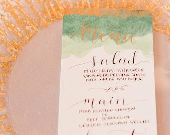 Wedding Menu, Calligraphy Menu, Wedding Calligraphy, Party Menu, Menu Cards, Hand Lettered, Wedding Calligraphy, Watercolor Menu, Gold Menu