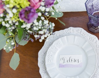 Watercolor Place Cards, Wedding Place Cards, Wedding Escort Card, Purple Place Card, Name Cards, Table Settings, Brunch, Guest List, Seating