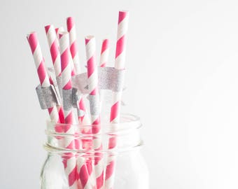 Pink Paper Straws, Striped Paper Straws, Party Supplies, Party Decor, Birthday Party, Straws With Flags, Wedding Paper Straws