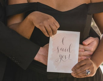 I Said Yes Sign, Calligraphy, Wedding Sign, Hand Lettered Engagement Announcement, She Said Yes, Elopement Announcement, Save the Date