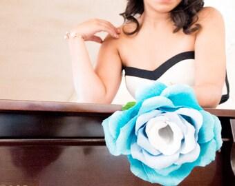 Blue Giant Paper Rose, Big Paper Flower, Giant Paper Flowers, Bridal Bouquet, Something Blue, Ombre, Large Paper Rose, Alternative Bouquet