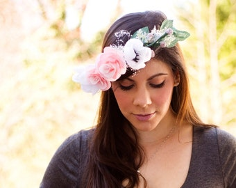 Paper Flower Crown, Pink Flower Crown, Paper Roses, Flower Halo, Maternity Pictures, Mother's Day, Baby Crown, Flower Crown, Baptism