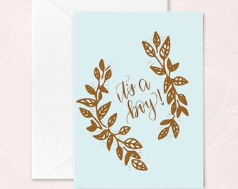 Baby Shower Greeting Card, It's a Boy! New Baby Greeting Card, Baby Boy Card, Congrats on your Baby Card, Welcome Baby Greeting Card