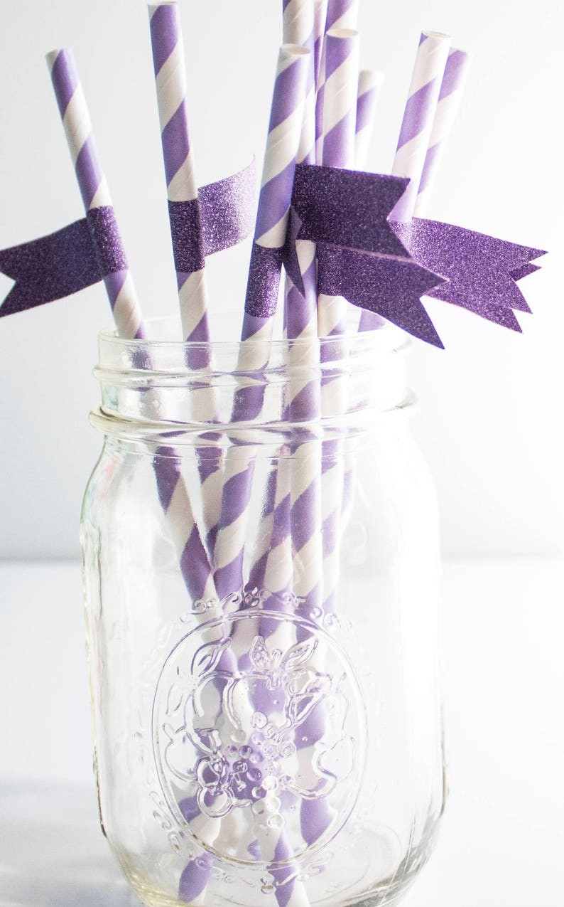 Purple Paper Straws Striped Paper Straws Party Supplies image 0