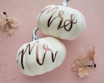 Fall Wedding, Mr. and Mrs. Pumpkin, Wedding Shower, Autumn Wedding, Save the Date props, Wedding Pumpkins, Small White Pumpkins