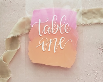 Acrylic Table Number with Stand, Wedding Table Sign, Acrylic Table Sign, Ombre Pink Table Number, Acrylic Wedding Sign, Modern Table Number