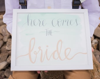 Here Comes the Bride Sign , Wedding Calligraphy, Ring Bearer Sign, Flower Girl Sign, Wedding Sign, Hand Lettered Sign