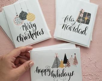 Christmas Greeting Card Set of 6, Christmas Card Bundle, Blush Christmas Cards, Hygge Greeting Card, Feliz Navidad Card, Modern Christmas